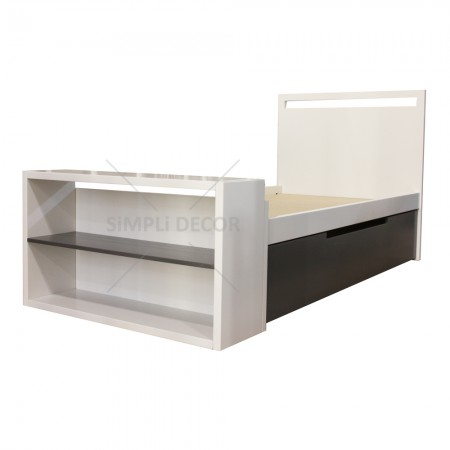Elia bed with drawer and shelf